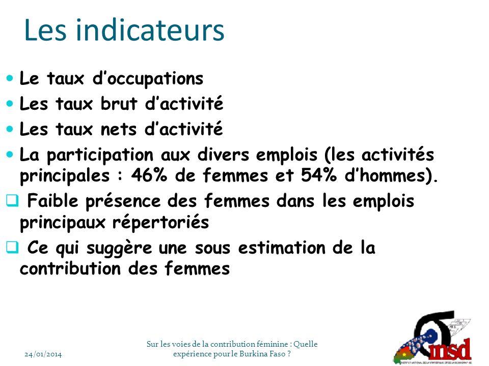 Les indicateurs Le taux doccupations Les taux brut dactivité Les taux nets dactivité La participation aux divers emplois (les activités principales : 46% de femmes et 54% dhommes).
