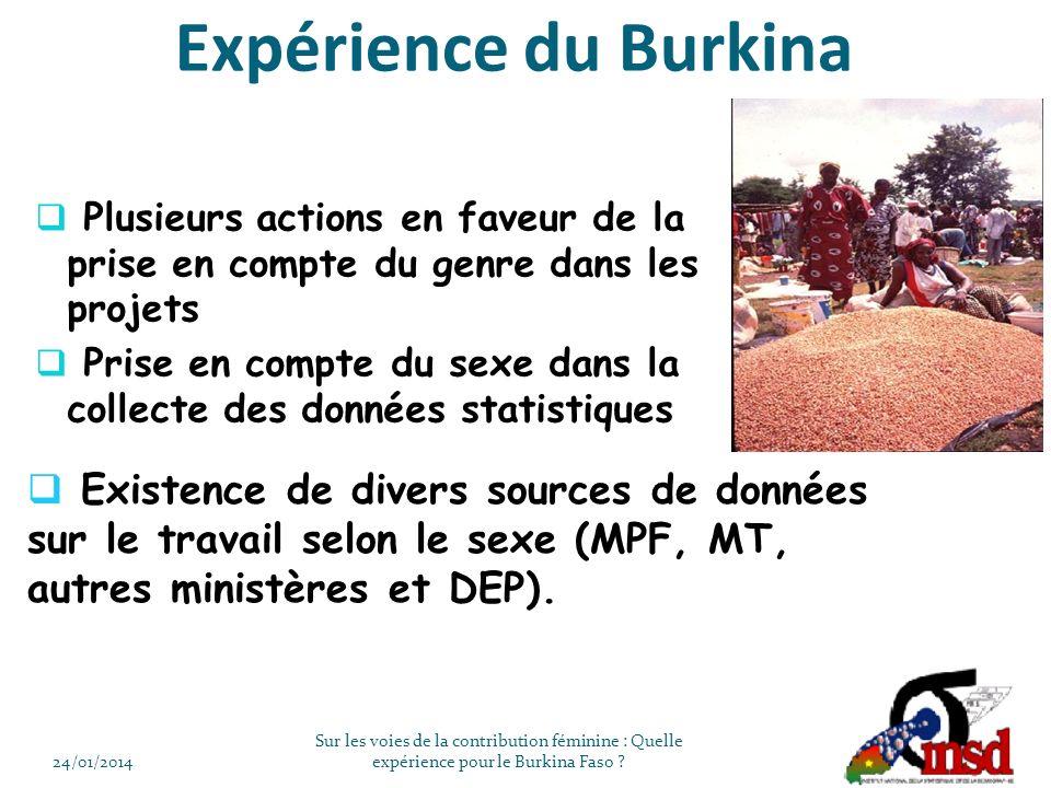 Plusieurs actions en faveur de la prise en compte du genre dans les projets Prise en compte du sexe dans la collecte des données statistiques 24/01/2014 Sur les voies de la contribution féminine : Quelle expérience pour le Burkina Faso .