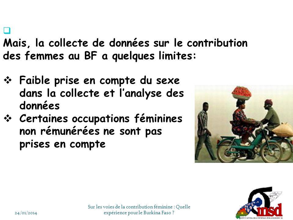 24/01/2014 Sur les voies de la contribution féminine : Quelle expérience pour le Burkina Faso .