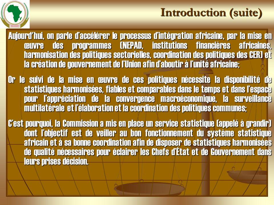 Introduction (suite) Aujourd'hui, on parle daccélérer le processus dintégration africaine, par la mise en œuvre des programmes (NEPAD, institutions fi
