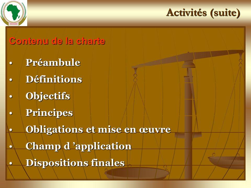 Activités (suite) Contenu de la charte PréambulePréambule DéfinitionsDéfinitions ObjectifsObjectifs PrincipesPrincipes Obligations et mise en œuvreObl