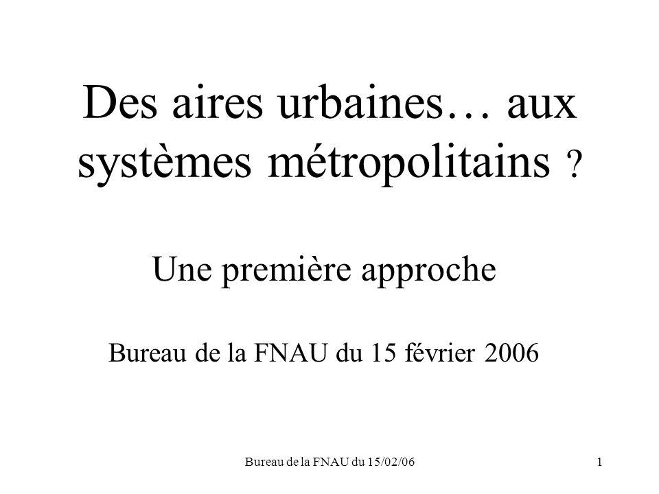 Bureau de la FNAU du 15/02/061 Des aires urbaines… aux systèmes métropolitains .