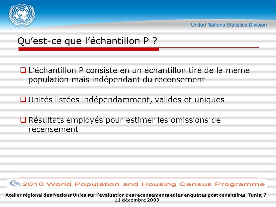 Atelier régional des Nations Unies sur lévaluation des recensements et les enquêtes post censitaires, Tunis, 7- 11 décembre 2009 Quest-ce que léchantillon P .