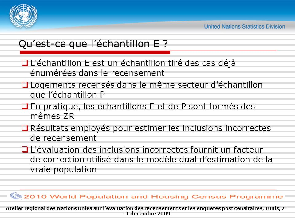 Atelier régional des Nations Unies sur lévaluation des recensements et les enquêtes post censitaires, Tunis, 7- 11 décembre 2009 Quest-ce que léchantillon E .