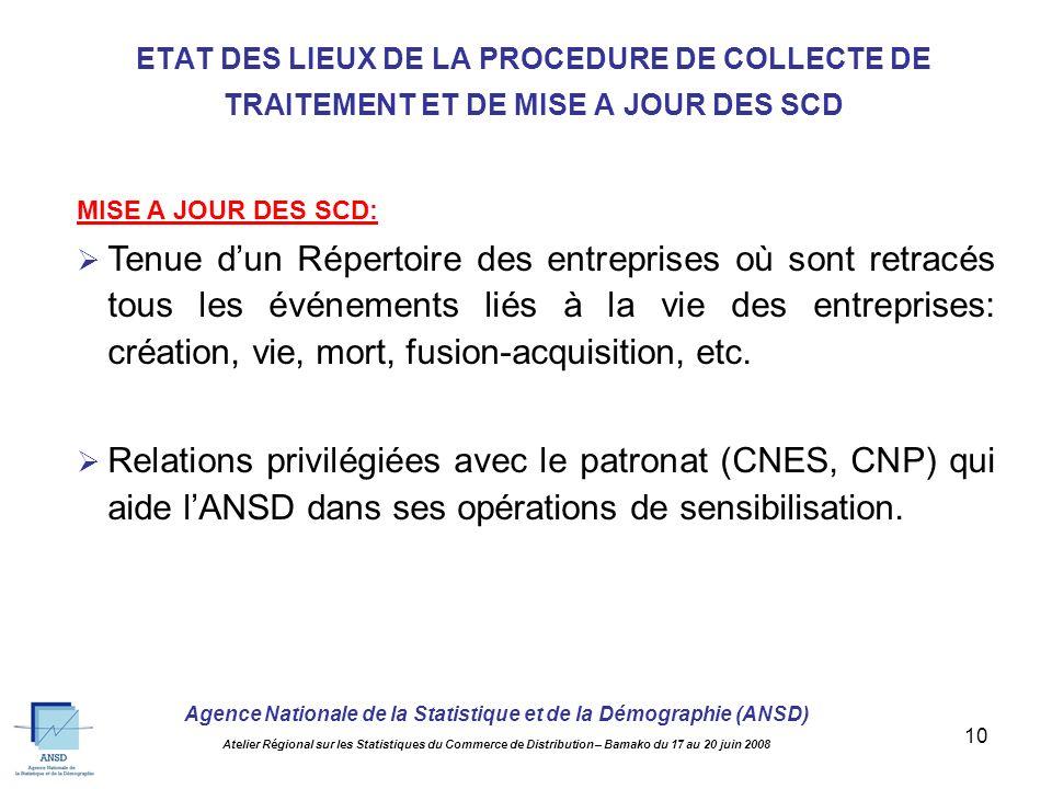 Agence Nationale de la Statistique et de la Démographie (ANSD) Atelier Régional sur les Statistiques du Commerce de Distribution – Bamako du 17 au 20 juin 2008 9 TRAITEMENT: Saisie des DSF à travers un logiciel « fait maison » développé sous Clipper.