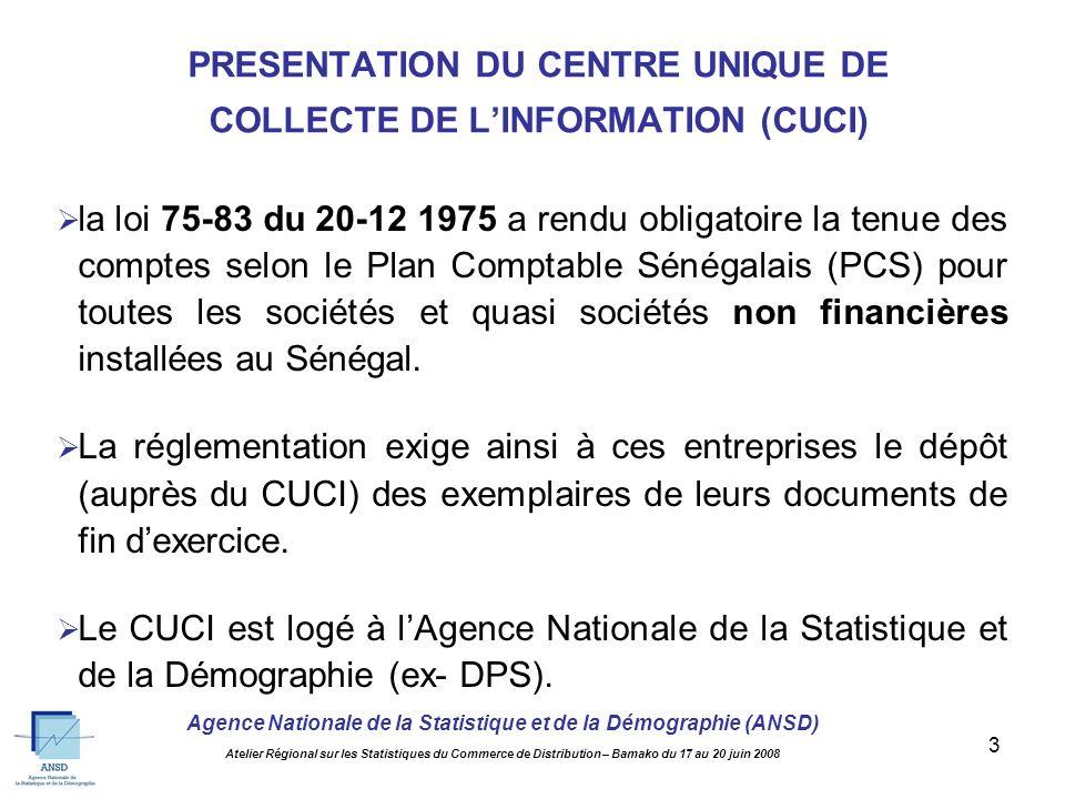 Agence Nationale de la Statistique et de la Démographie (ANSD) Atelier Régional sur les Statistiques du Commerce de Distribution – Bamako du 17 au 20 juin 2008 13 Pas de publication spécifique aux SCD.