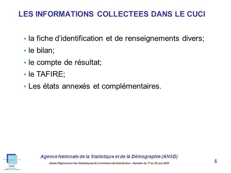 Agence Nationale de la Statistique et de la Démographie (ANSD) Atelier Régional sur les Statistiques du Commerce de Distribution – Bamako du 17 au 20 juin 2008 5 la fiche didentification et de renseignements divers; le bilan; le compte de résultat; le TAFIRE; Les états annexés et complémentaires.