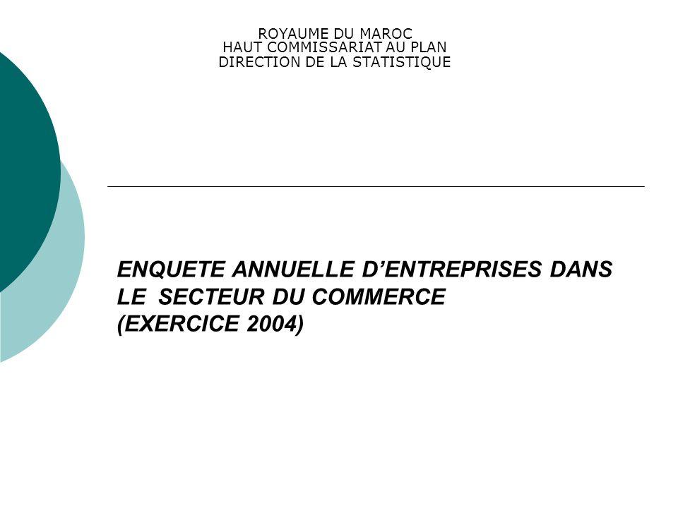 ENQUETE ANNUELLE DENTREPRISES DANS LE SECTEUR DU COMMERCE (EXERCICE 2004) ROYAUME DU MAROC HAUT COMMISSARIAT AU PLAN DIRECTION DE LA STATISTIQUE