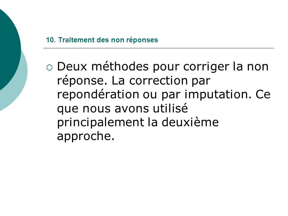 10. Traitement des non réponses Deux méthodes pour corriger la non réponse.
