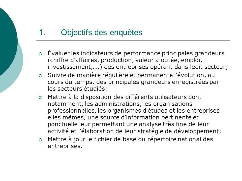 1.Objectifs des enquêtes Évaluer les indicateurs de performance principales grandeurs (chiffre daffaires, production, valeur ajoutée, emploi, investis