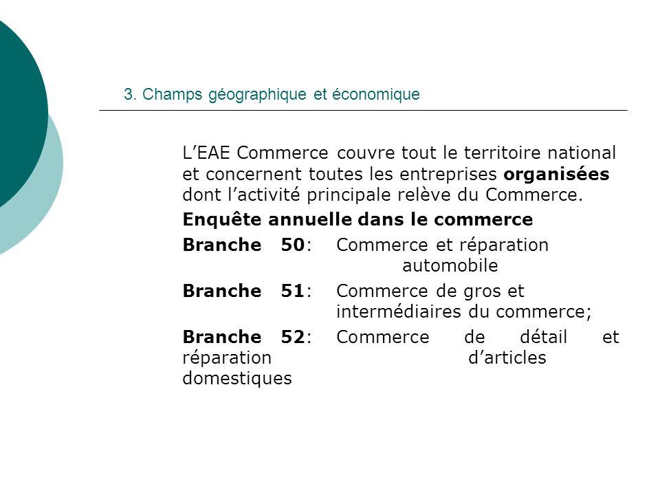 3. Champs géographique et économique LEAE Commerce couvre tout le territoire national et concernent toutes les entreprises organisées dont lactivité p