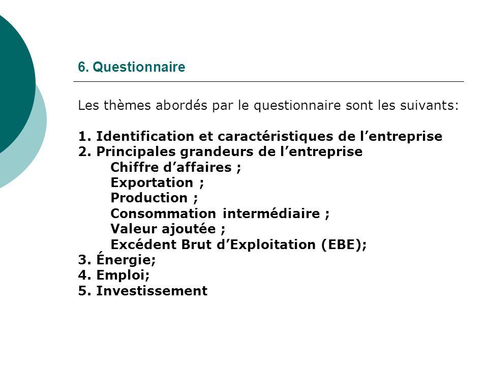 6. Questionnaire Les thèmes abordés par le questionnaire sont les suivants: 1. Identification et caractéristiques de lentreprise 2. Principales grande