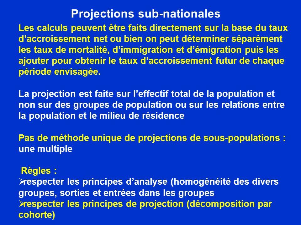 Projections sub-nationales Les calculs peuvent être faits directement sur la base du taux daccroissement net ou bien on peut déterminer séparément les