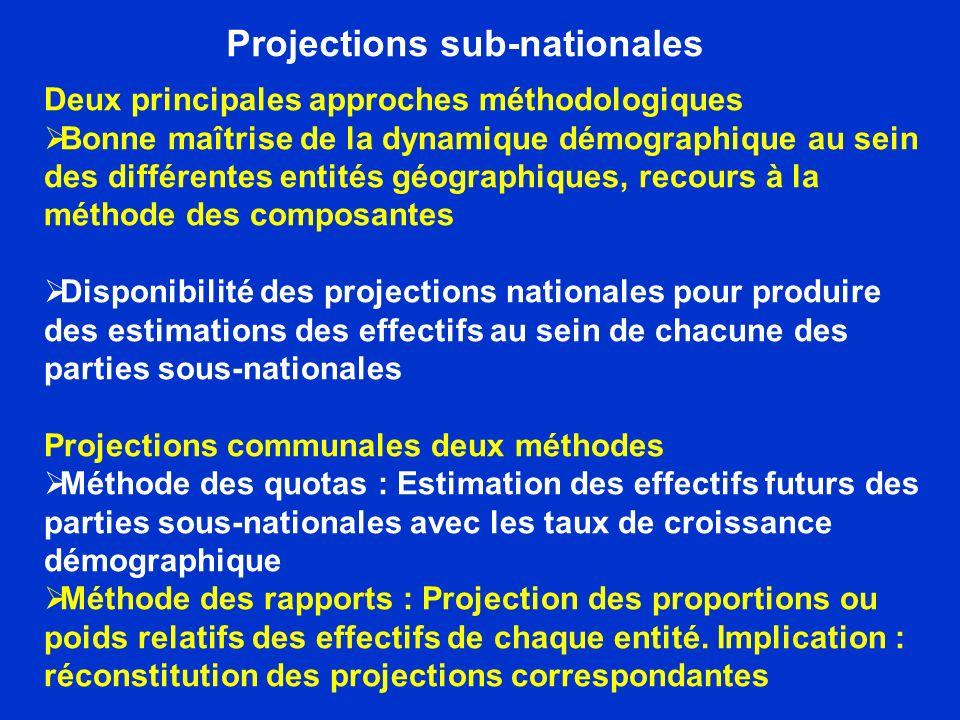 Projections sub-nationales Deux principales approches méthodologiques Bonne maîtrise de la dynamique démographique au sein des différentes entités géo