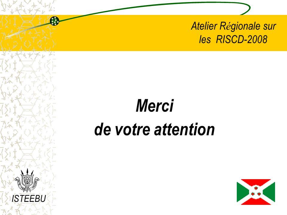 Atelier R é gionale sur les RISCD-2008 Merci de votre attention ISTEEBU