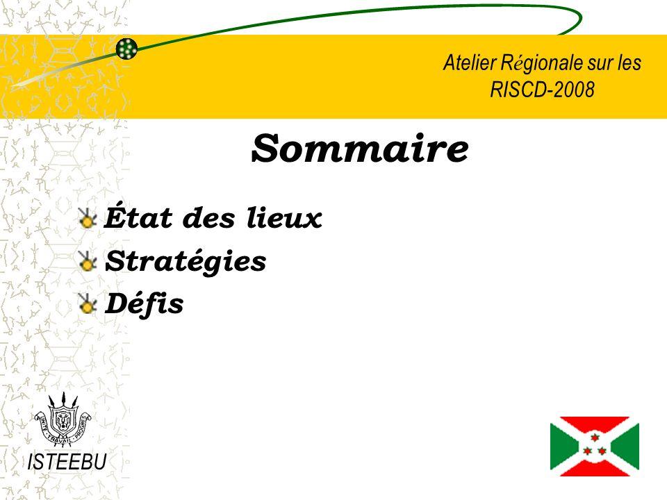 Atelier R é gionale sur les RISCD-2008 Sommaire État des lieux Stratégies Défis ISTEEBU