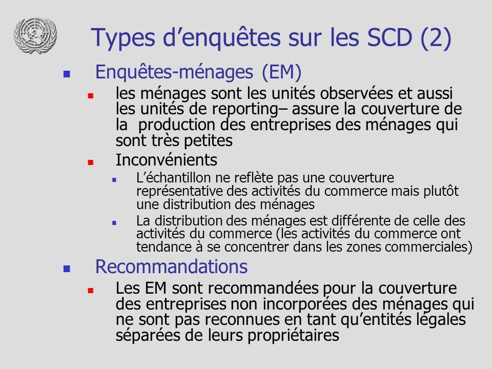 Types denquêtes sur les SCD (2) Enquêtes-ménages (EM) les ménages sont les unités observées et aussi les unités de reporting– assure la couverture de