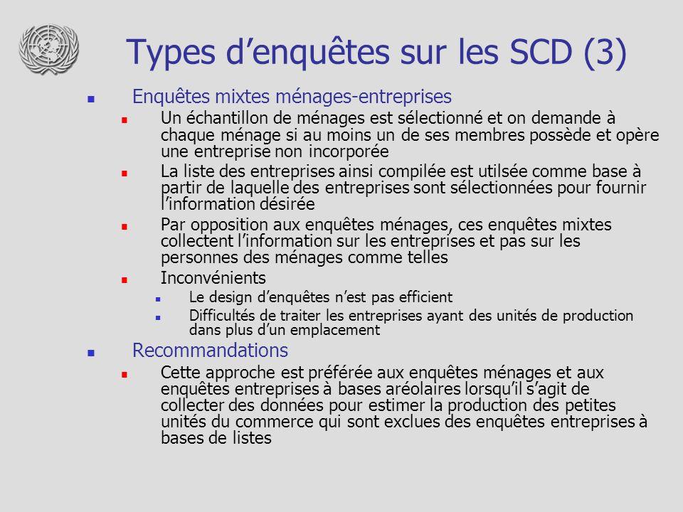 Types denquêtes sur les SCD (3) Enquêtes mixtes ménages-entreprises Un échantillon de ménages est sélectionné et on demande à chaque ménage si au moin