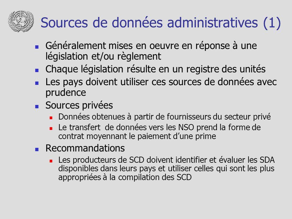 Sources de données administratives (1) Généralement mises en oeuvre en réponse à une législation et/ou règlement Chaque législation résulte en un regi