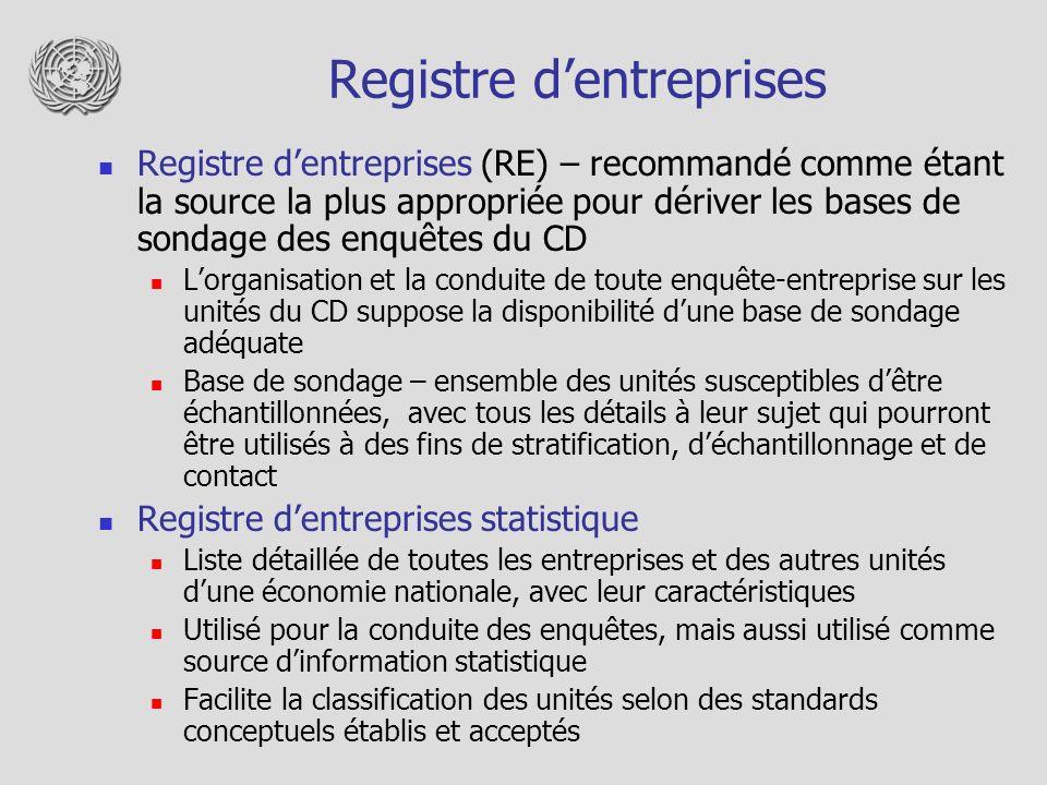 Registre dentreprises Registre dentreprises (RE) – recommandé comme étant la source la plus appropriée pour dériver les bases de sondage des enquêtes