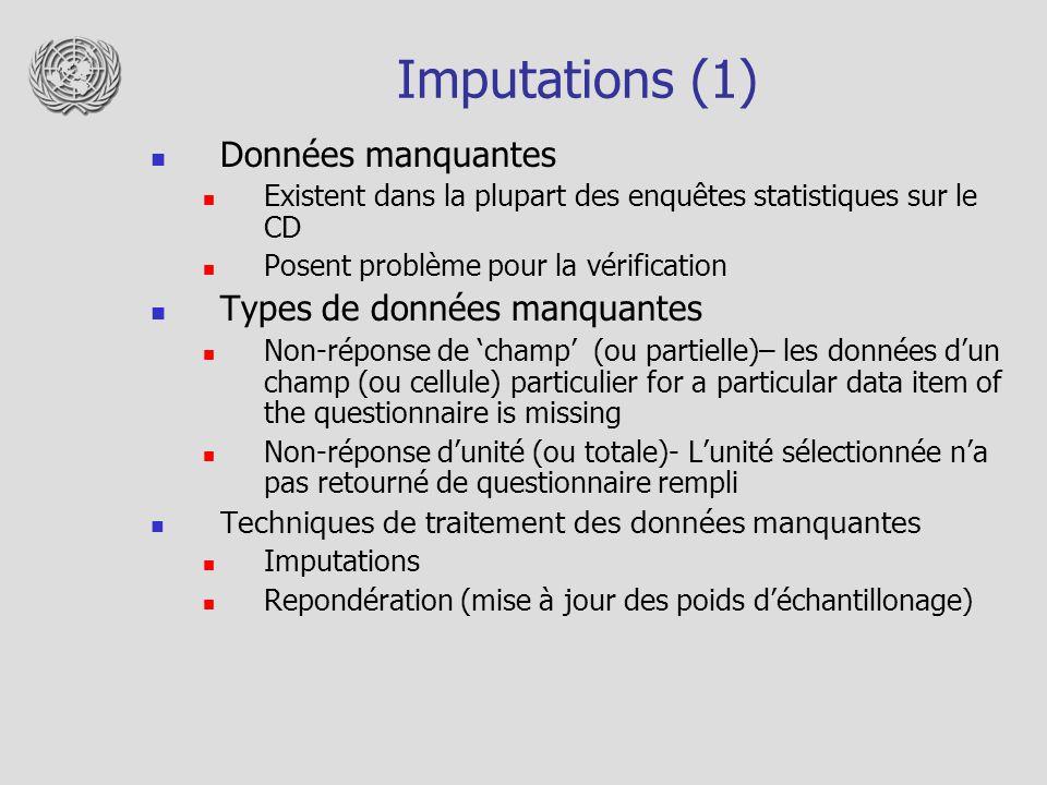 Imputations (1) Données manquantes Existent dans la plupart des enquêtes statistiques sur le CD Posent problème pour la vérification Types de données