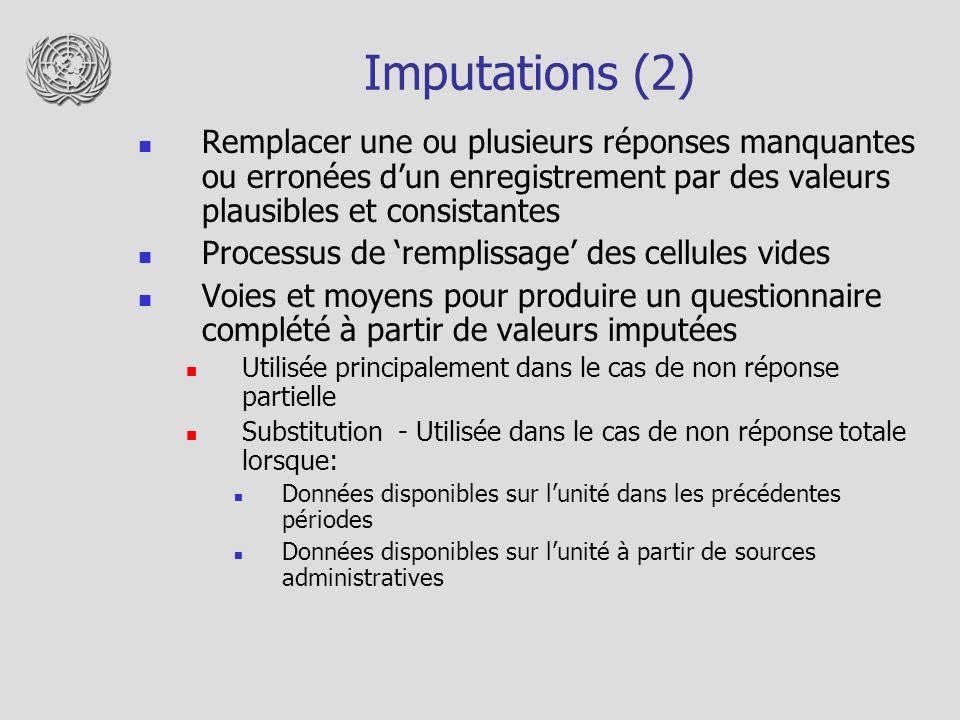 Imputations (2) Remplacer une ou plusieurs réponses manquantes ou erronées dun enregistrement par des valeurs plausibles et consistantes Processus de