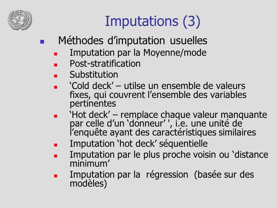 Imputations (3) Méthodes dimputation usuelles Imputation par la Moyenne/mode Post-stratification Substitution Cold deck – utilse un ensemble de valeur