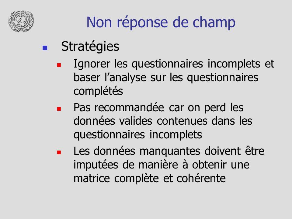 Non réponse de champ Stratégies Ignorer les questionnaires incomplets et baser lanalyse sur les questionnaires complétés Pas recommandée car on perd l