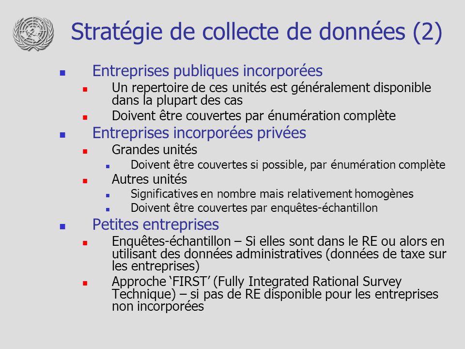 Stratégie de collecte de données (2) Entreprises publiques incorporées Un repertoire de ces unités est généralement disponible dans la plupart des cas