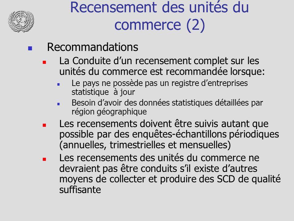 Recensement des unités du commerce (2) Recommandations La Conduite dun recensement complet sur les unités du commerce est recommandée lorsque: Le pays