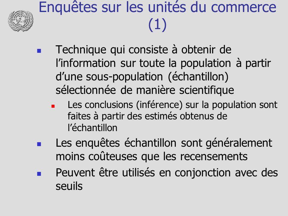 Enquêtes sur les unités du commerce (1) Technique qui consiste à obtenir de linformation sur toute la population à partir dune sous-population (échant