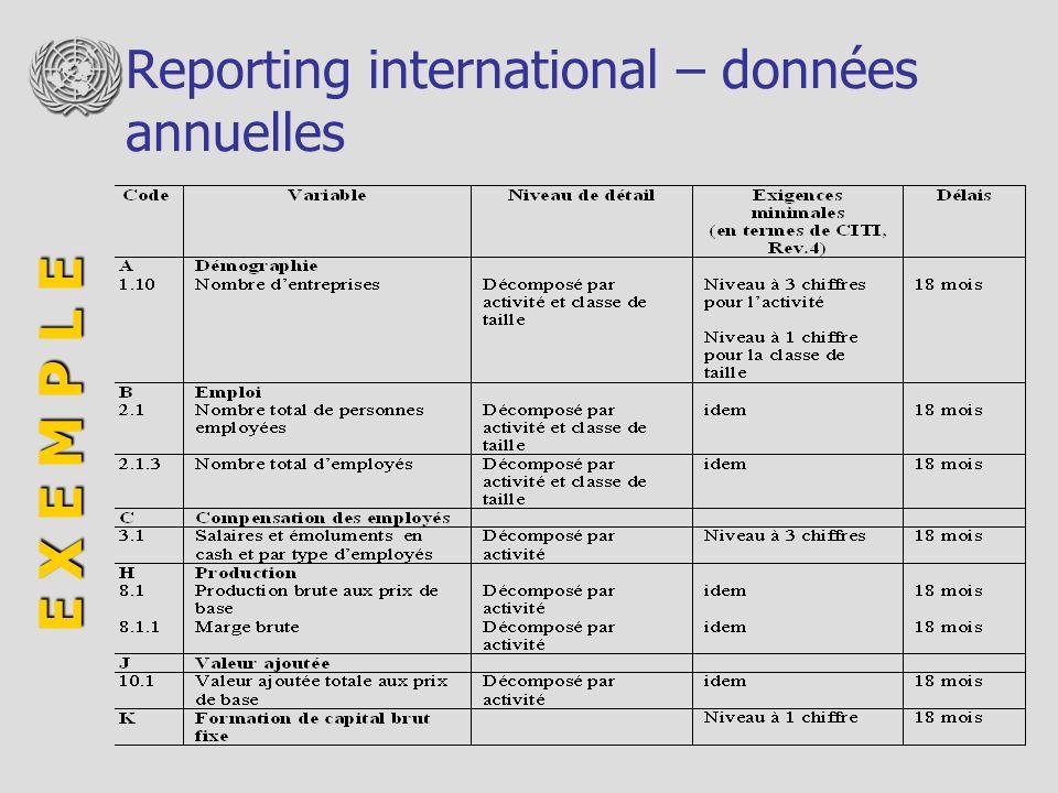 Reporting international – données annuelles E X E M P L E