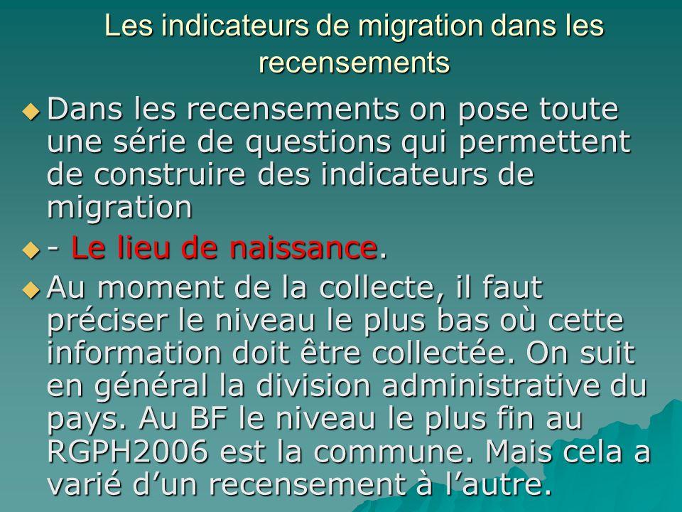 Les indicateurs de migration dans les recensements Dans les recensements on pose toute une série de questions qui permettent de construire des indicateurs de migration Dans les recensements on pose toute une série de questions qui permettent de construire des indicateurs de migration - Le lieu de naissance.