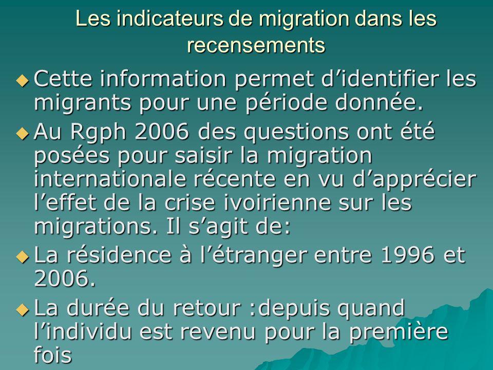 Les indicateurs de migration dans les recensements Cette information permet didentifier les migrants pour une période donnée.