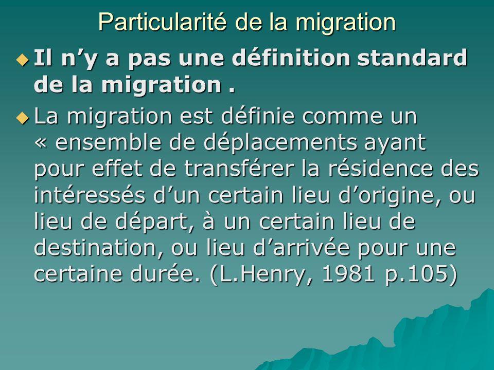 Particularité de la migration Il ny a pas une définition standard de la migration.