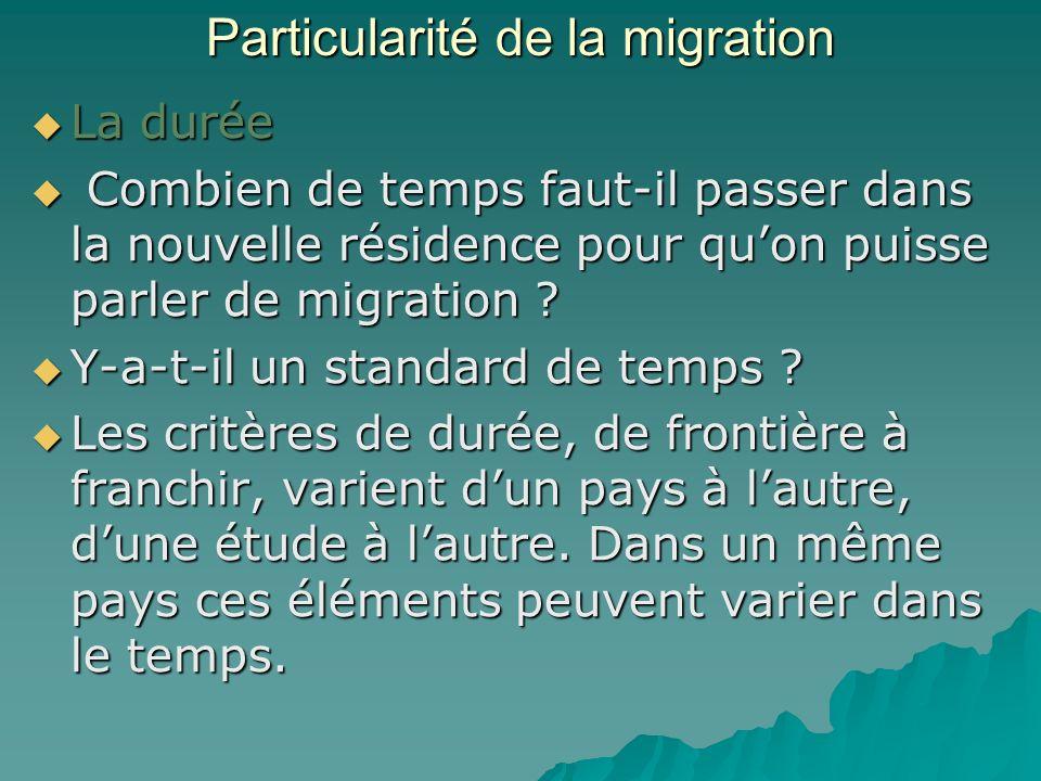 Particularité de la migration La durée La durée Combien de temps faut-il passer dans la nouvelle résidence pour quon puisse parler de migration .