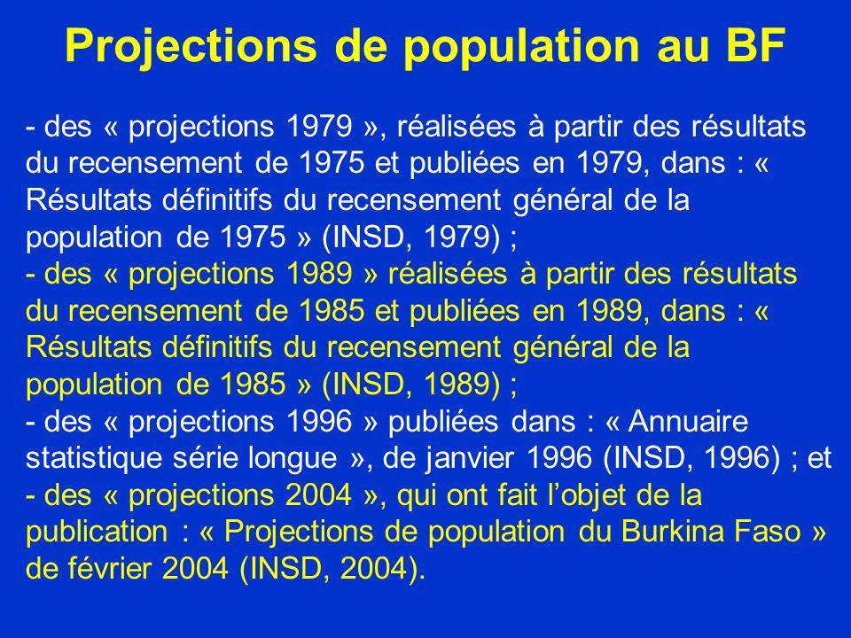 Projections de population au BF - des « projections 1979 », réalisées à partir des résultats du recensement de 1975 et publiées en 1979, dans : « Résultats définitifs du recensement général de la population de 1975 » (INSD, 1979) ; - des « projections 1989 » réalisées à partir des résultats du recensement de 1985 et publiées en 1989, dans : « Résultats définitifs du recensement général de la population de 1985 » (INSD, 1989) ; - des « projections 1996 » publiées dans : « Annuaire statistique série longue », de janvier 1996 (INSD, 1996) ; et - des « projections 2004 », qui ont fait lobjet de la publication : « Projections de population du Burkina Faso » de février 2004 (INSD, 2004).