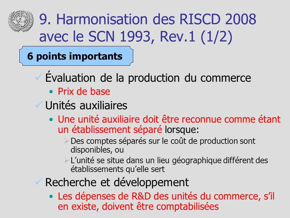 9. Harmonisation des RISCD 2008 avec le SCN 1993, Rev.1 (1/2) Évaluation de la production du commerce Prix de base Unités auxiliaires Une unité auxili
