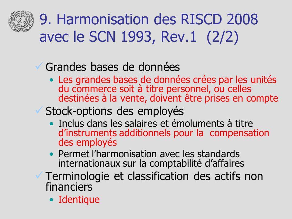 9. Harmonisation des RISCD 2008 avec le SCN 1993, Rev.1 (2/2) Grandes bases de données Les grandes bases de données crées par les unités du commerce s