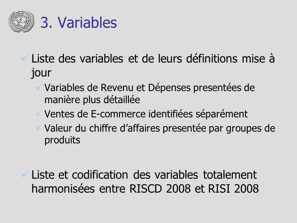 3. Variables Liste des variables et de leurs définitions mise à jour Variables de Revenu et Dépenses presentées de manière plus détaillée Ventes de E-