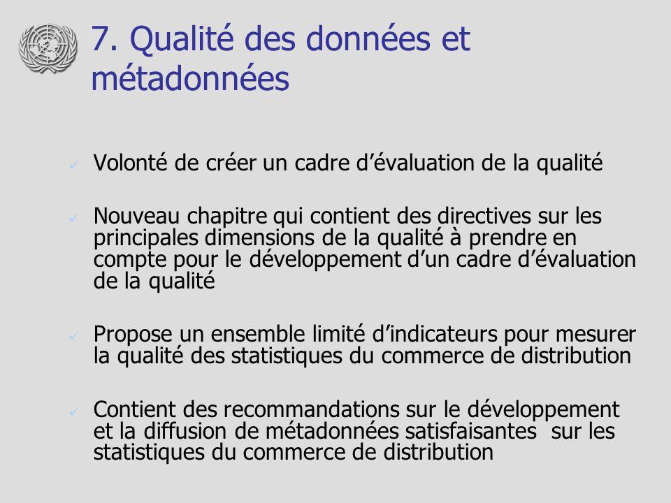 7. Qualité des données et métadonnées Volonté de créer un cadre dévaluation de la qualité Nouveau chapitre qui contient des directives sur les princip