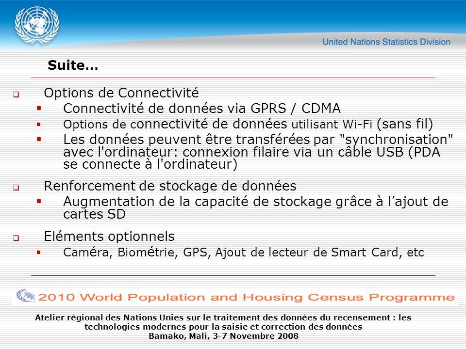 Atelier régional des Nations Unies sur le traitement des données du recensement : les technologies modernes pour la saisie et correction des données Bamako, Mali, 3-7 Novembre 2008 Deux Types of dispositifs: A stylet PC de poche oEntrée avec un stylet oTransfert de données via sync Intégré (converged) PC de poche avec Connectivité oConnecté via GPRS / CDMA oOptions de Caméra, GPS