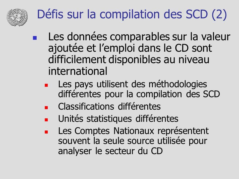 Défis sur la compilation des SCD (2) Les données comparables sur la valeur ajoutée et lemploi dans le CD sont difficilement disponibles au niveau international Les pays utilisent des méthodologies différentes pour la compilation des SCD Classifications différentes Unités statistiques différentes Les Comptes Nationaux représentent souvent la seule source utilisée pour analyser le secteur du CD