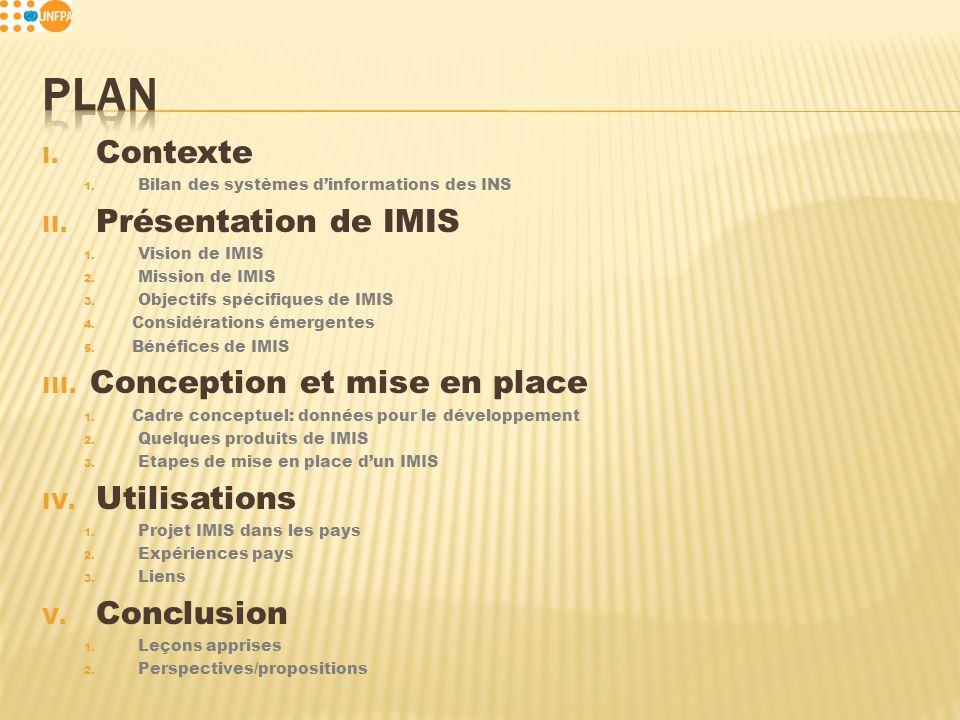 I. Contexte 1. Bilan des systèmes dinformations des INS II.