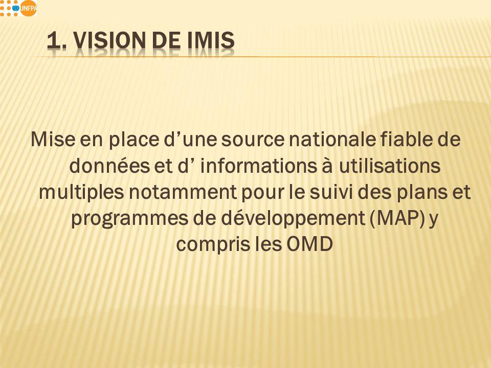 Mise en place dune source nationale fiable de données et d informations à utilisations multiples notamment pour le suivi des plans et programmes de développement (MAP) y compris les OMD