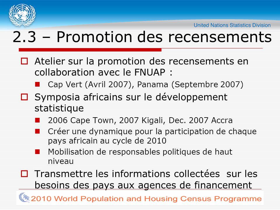 2.3 – Promotion des recensements Atelier sur la promotion des recensements en collaboration avec le FNUAP : Cap Vert (Avril 2007), Panama (Septembre 2007) Symposia africains sur le développement statistique 2006 Cape Town, 2007 Kigali, Dec.