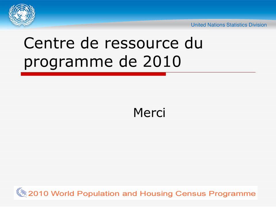 Centre de ressource du programme de 2010 Merci