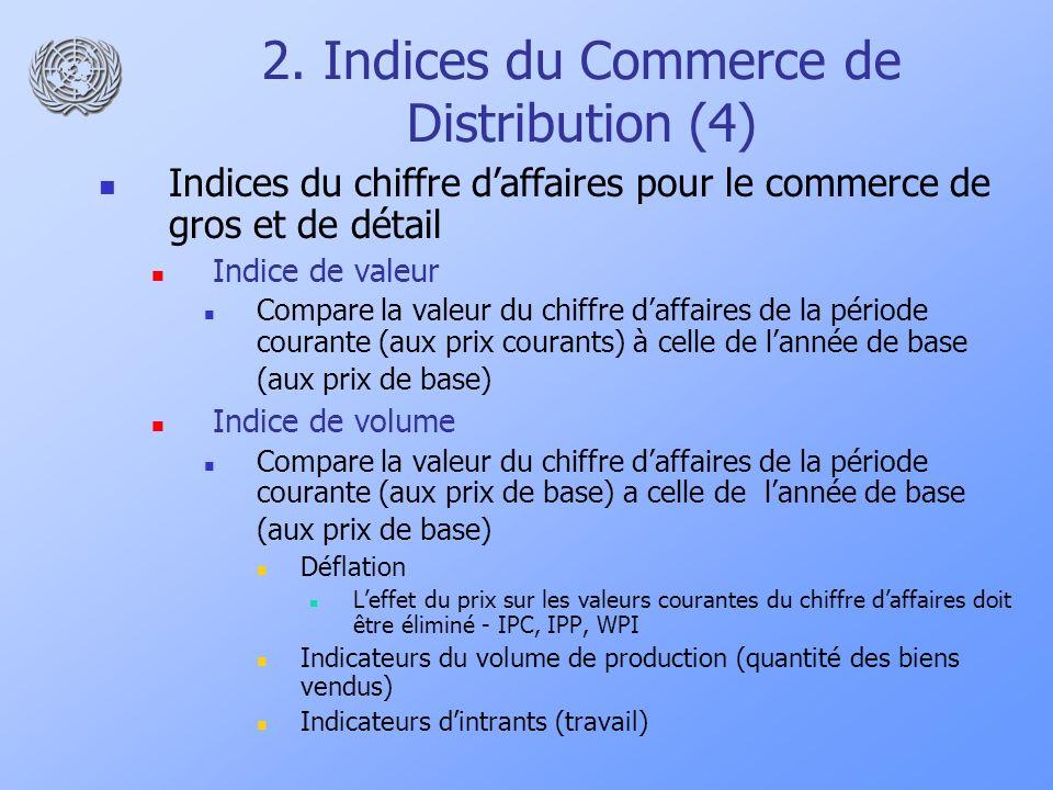 2. Indices du Commerce de Distribution (4) Indices du chiffre daffaires pour le commerce de gros et de détail Indice de valeur Compare la valeur du ch