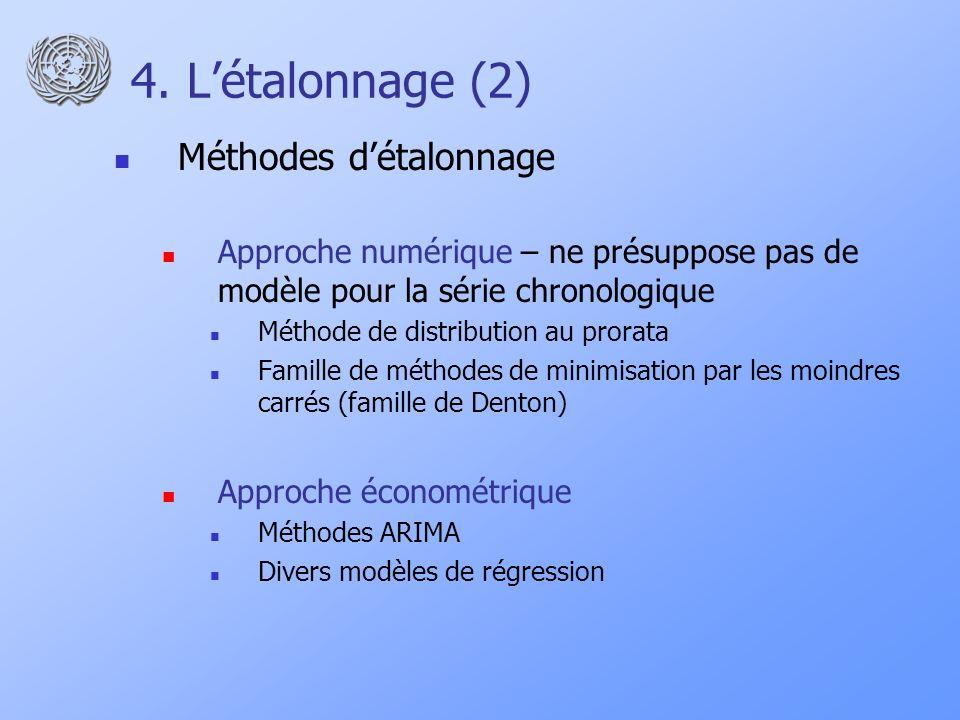 4. Létalonnage (2) Méthodes détalonnage Approche numérique – ne présuppose pas de modèle pour la série chronologique Méthode de distribution au prorat