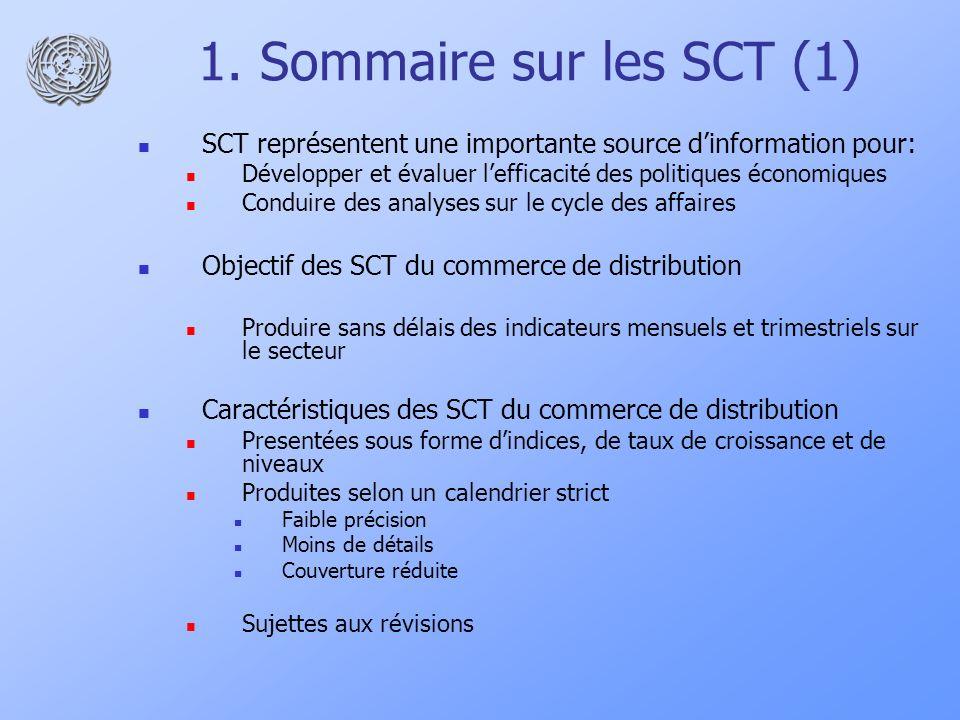 1. Sommaire sur les SCT (1) SCT représentent une importante source dinformation pour: Développer et évaluer lefficacité des politiques économiques Con